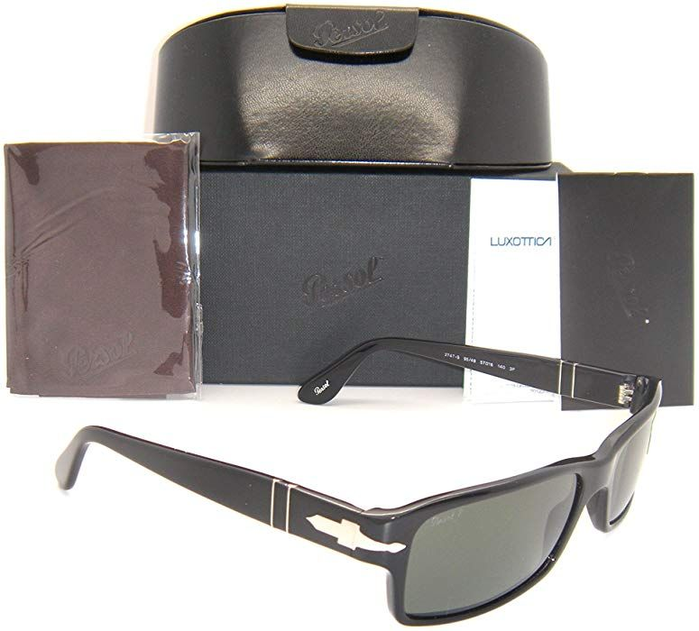 3daf9cab85 Amazon.com  New   Authentic Persol Black Frame Green Polarized Lens PO  2747-S 95 48 57mm  Clothing