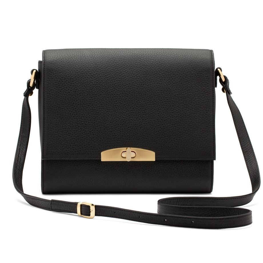 Cuyana Leather Shoulder Bag in Black | Crossbody Bag | Pinterest ...