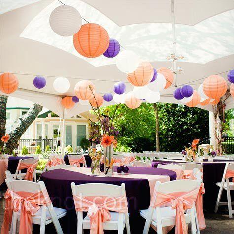 Reception In Purple And Peach Colours Purple Wedding Wedding
