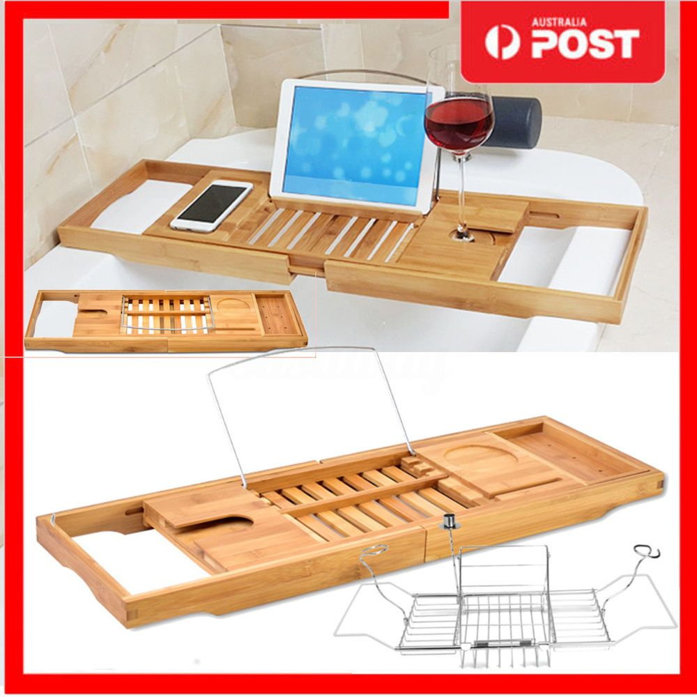 Bathroom Bamboo/Alloy Bath Caddy Wine Glass Holder Tray Bathtub Rack ...