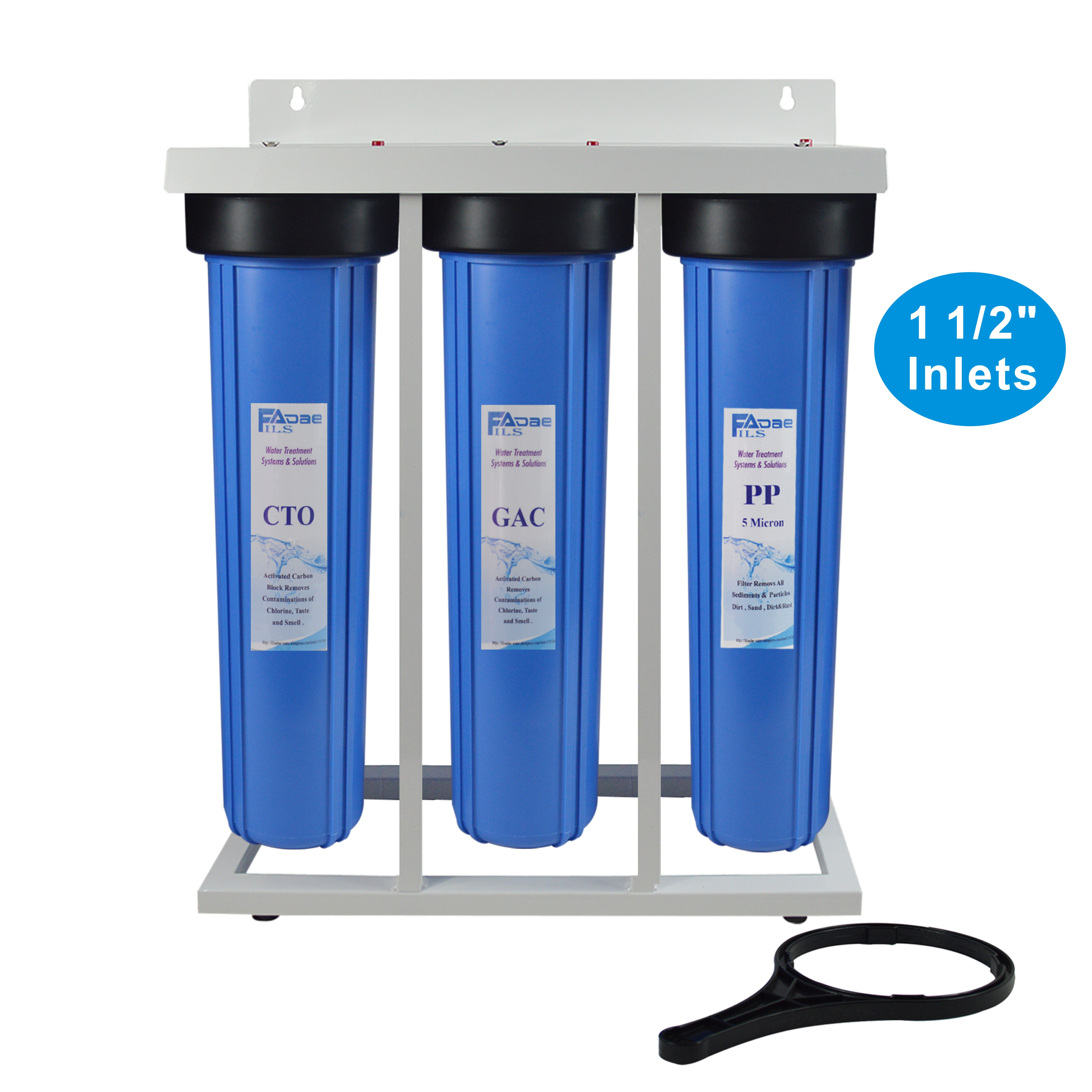 3 Stage Whole House Water Filtration System 1 1 2 Inch Inlets With Stand 20 Big B Whole House Water Filter Whole House Reverse Osmosis Water Filtration System