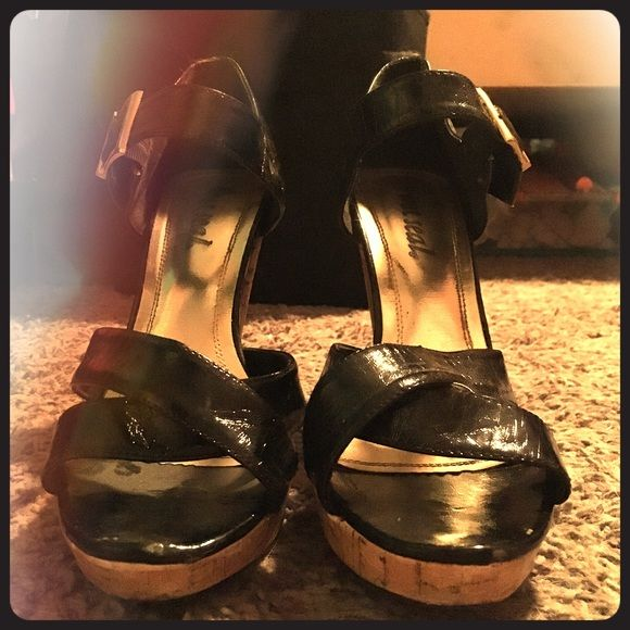 Black scrappy heels Super cute sandal heels! Perfect with a summer dress. In great condition Wet Seal Shoes Heels
