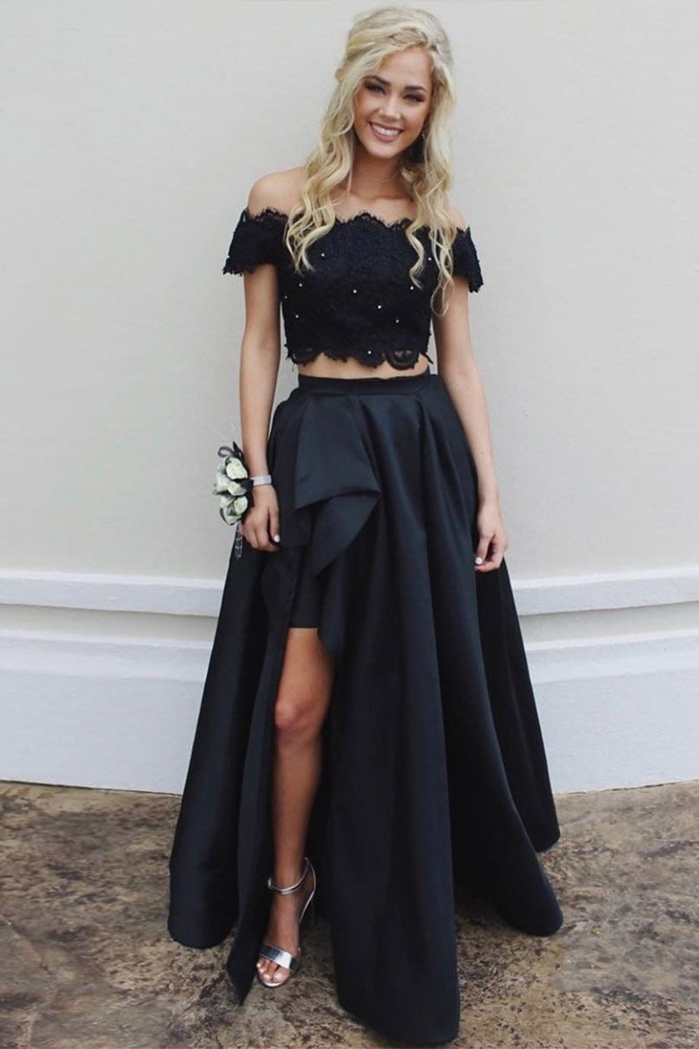 High low two piece offtheshoulder split long prom dress