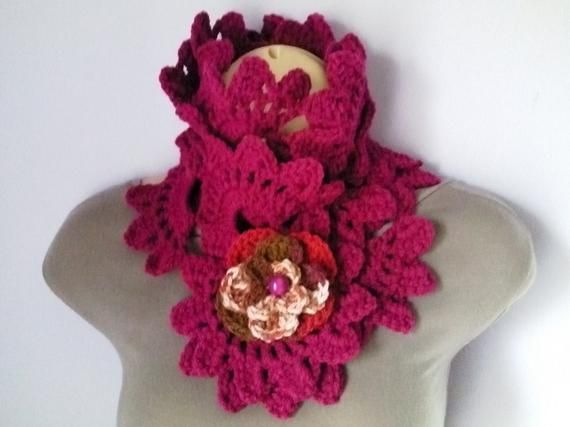 907f57a6f86 Crochet Scarf Neckwarmer with Crochet Flower Brooch women, шарф ...