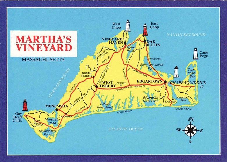 Map of Martha's Vineyard Beaches | getting to the martha s vineyard Marthas Vineyard Map on