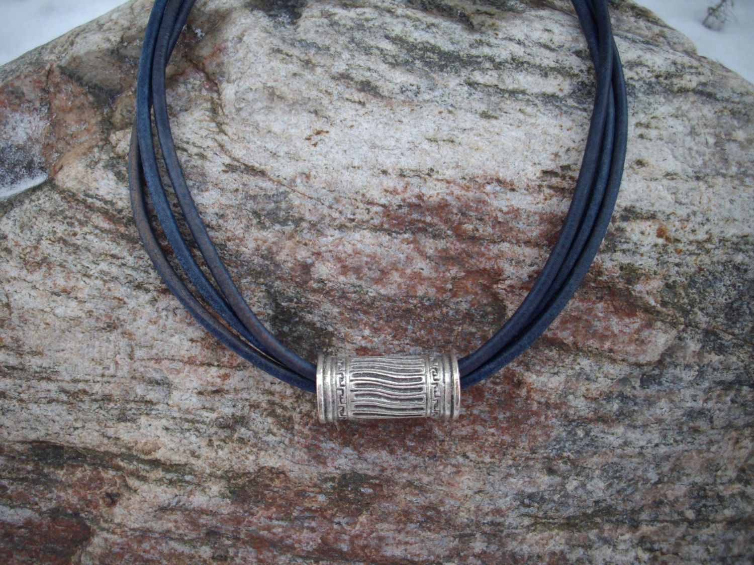 Triple Strand 3mm Distressed Navy Blue Leather Necklace with Chunky Antique Silver Greek Carved Tube Bead by DesignsbyPattiLynn on Etsy