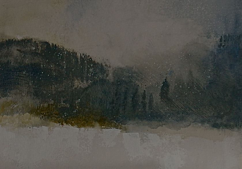 Mountain Snow Flurries - acrylic on 4oo# gesso'd Arches