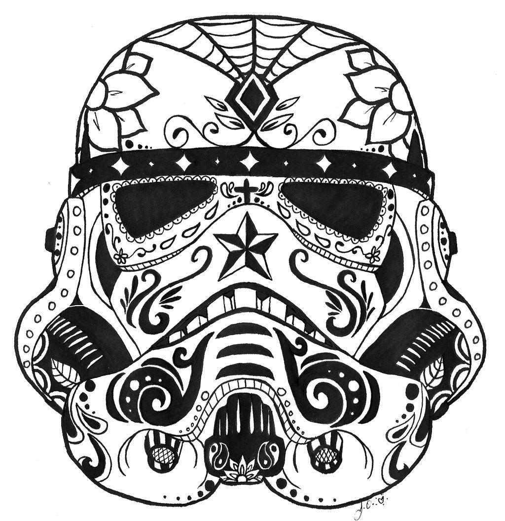 Stormtrooper Sugar Skull By Guardian Angel15 On Deviantart Star Wars Drawings Skull Coloring Pages Star Wars Sugar Skull