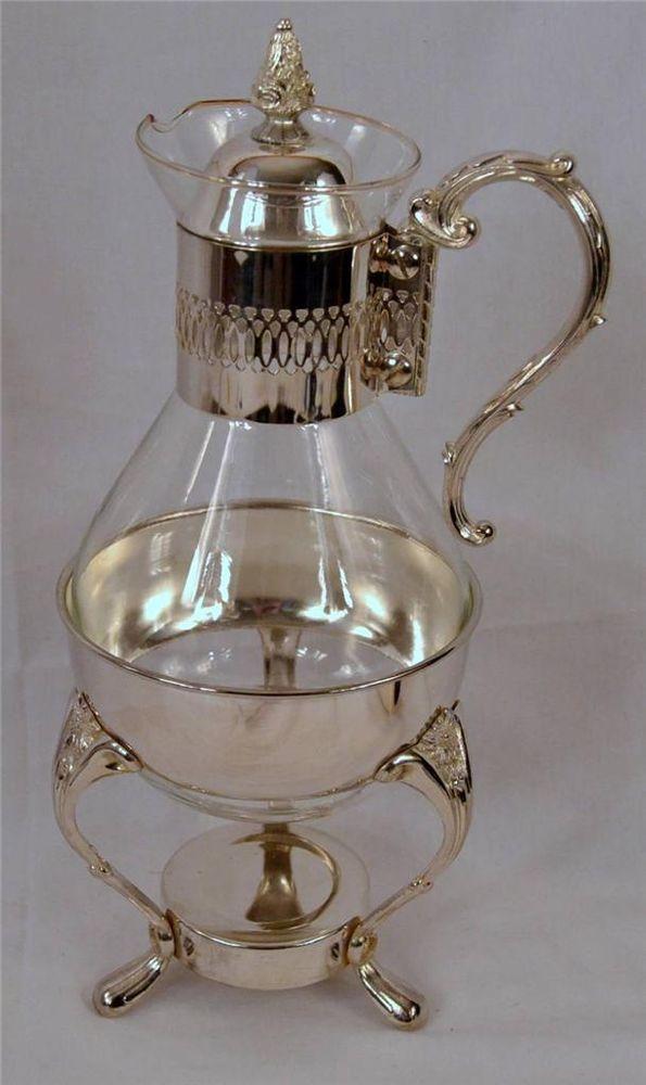 Leonard Silver Plate 1970s Silverplate & Glass Coffee /Tea Carafe ...