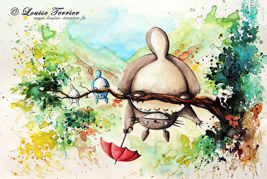 Studio Ghibli Inspired Watercolor Paintings By Louise Terrier 14