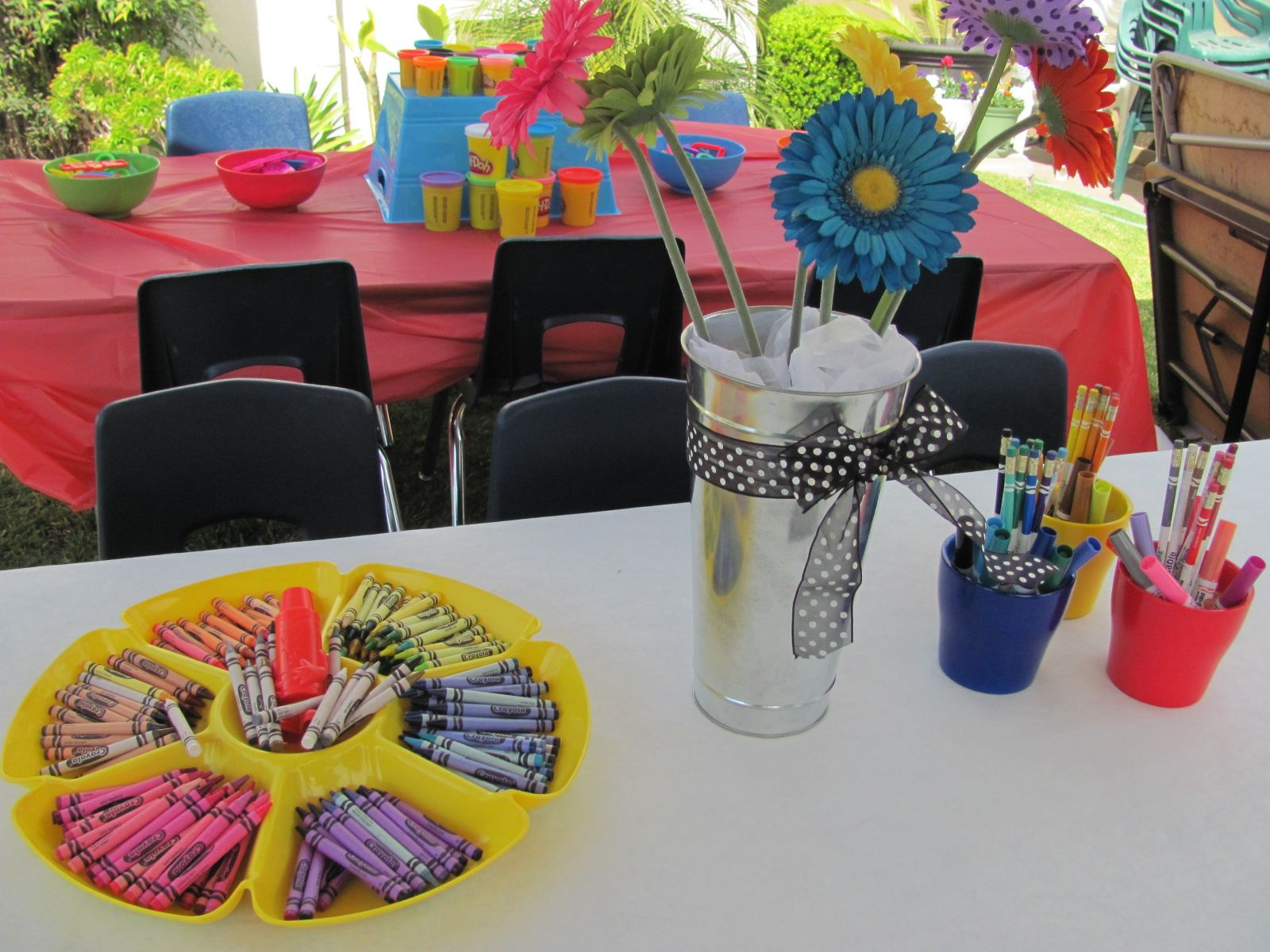 Crayola Birthday Party Coloring Station On A Paper Covered Table Crayola Birthday Party Crayon Birthday Parties Crayola Coloring Pages