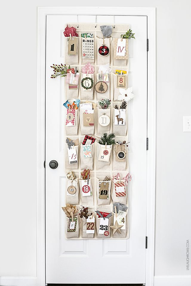 Create An Over The Door Advent Calendar Using A Shoe Organizer