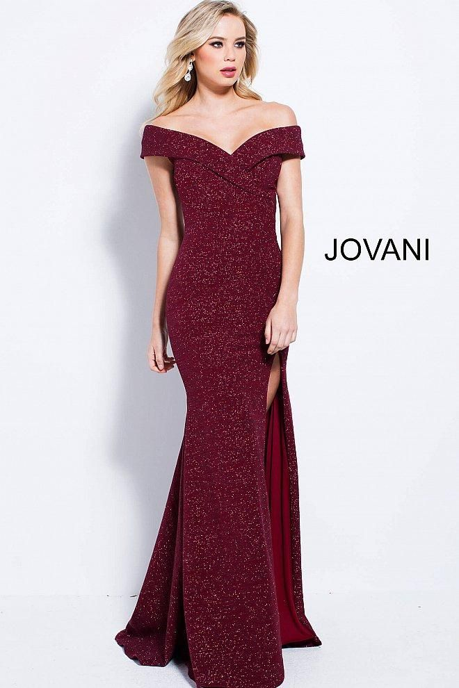 b6cbd8119b5 Jovani fitted sparkle jersey off the shoulder gown with a high leg slit