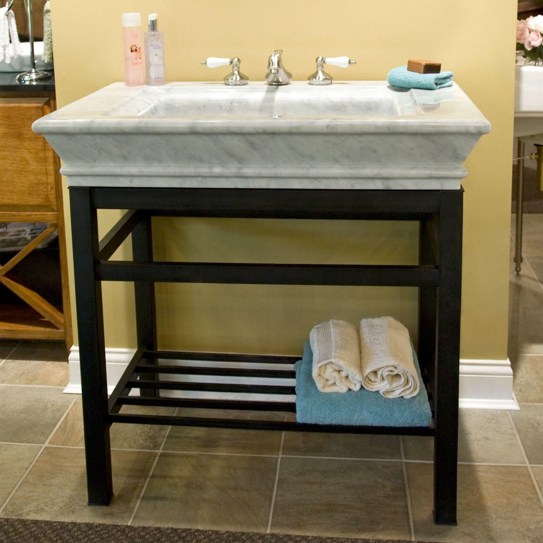 Carrara Marble Bathroom Sink: Modern Console Vanity With Carrara Marble Sink Top