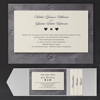 Puppy Love Invitation For Our Dog Loving S Pocket Ensemble Features Embossed Print