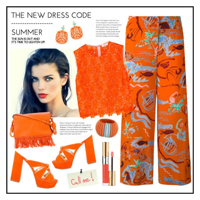 """Orange!"" by diane1234 ❤ liked on Polyvore featuring Loewe, Casadei, Aspesi, A.L.C., Kenneth Jay Lane and Yves Saint Laurent"