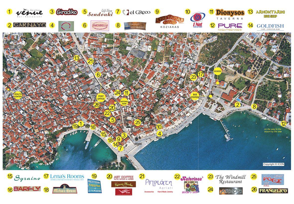 Map of Skiathos town in 2019 | Skiathos, Graphic design, Design