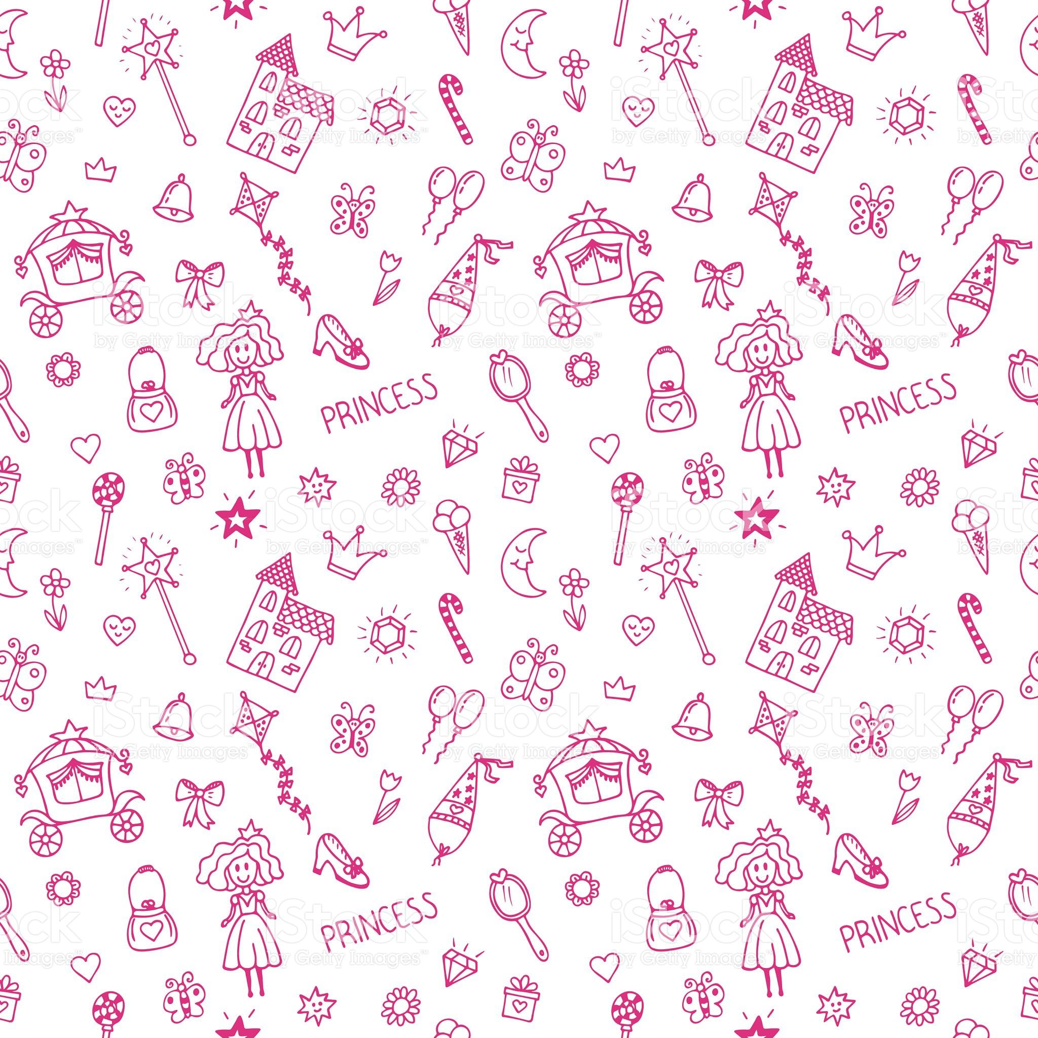 Hand Drawn Seamless Pattern With Princess Doodle Design Elements