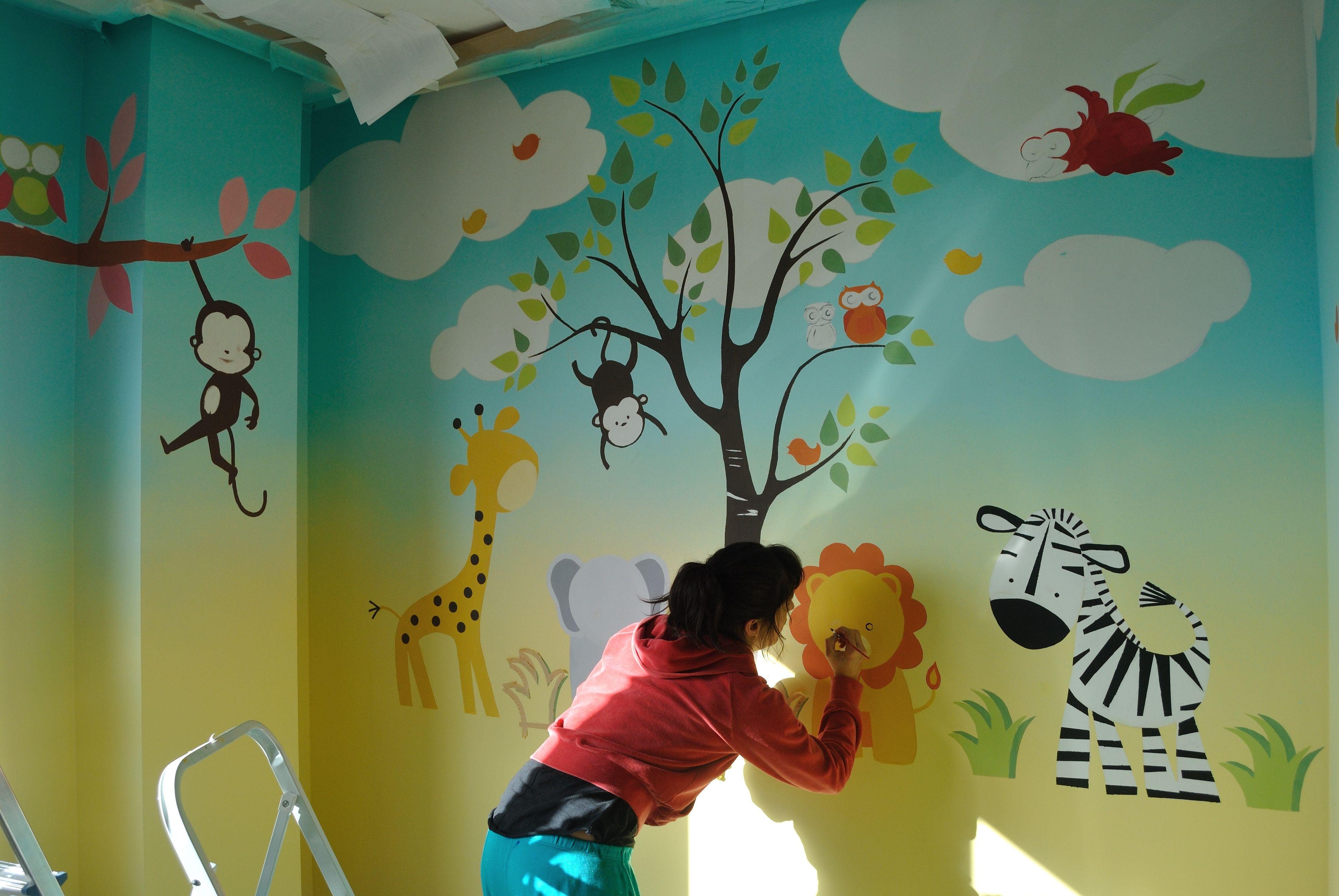 Mural infantil murales pinterest for Murales habitacion bebe