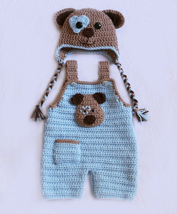 Puppy Love Hat Set Baby Overalls Newborn Dungarees by dsgnGrl ...