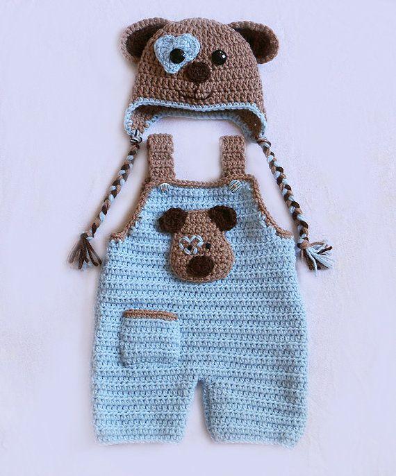 Puppy Love Hut Set Baby Overalls Neugeborenen von dsgnGrl auf Etsy ...