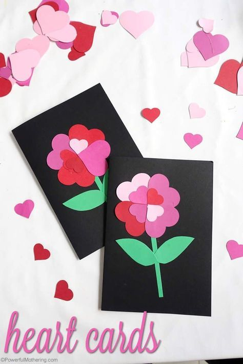 Make These Gorgeous Heart Flower Cards With Your Toddler Or Preschool For Valentine S Day Or Mother Valentine Crafts Valentines Art Valentine S Cards For Kids