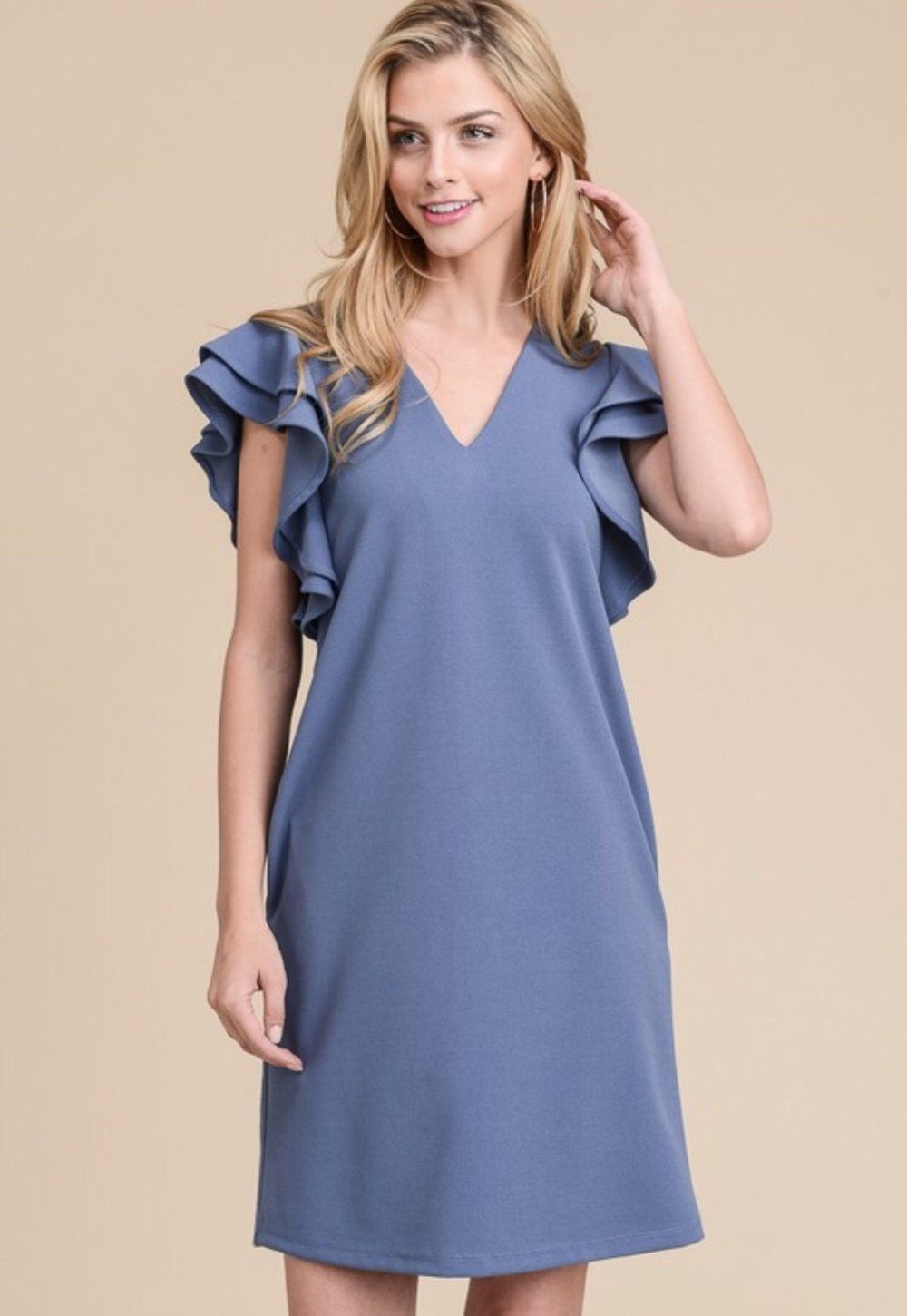 01d5030650944a Olga Steel Gray Dress Amuzen Dress with Tiered Ruffle Sleeves and Seam  Pockets