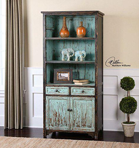 Aqua Turquoise Distressed Bookshelf