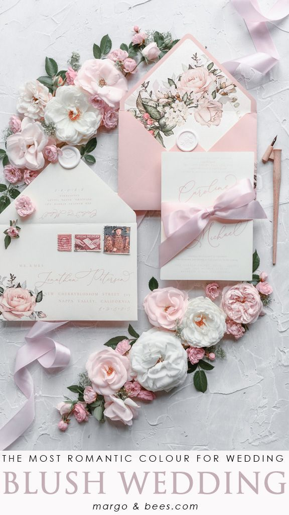 Romantic Wedding Invitations Garden Roses Invites Personalized Stationery Blush Pink Bow 01 Rose Z Wedding Invitation Ribbon Pink Wedding Invitations Affordable Wedding Invitations