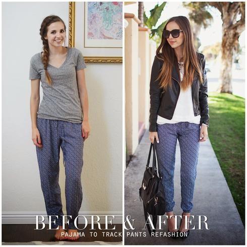 transformer vieux v tements pyjama pantalons tendance diy. Black Bedroom Furniture Sets. Home Design Ideas