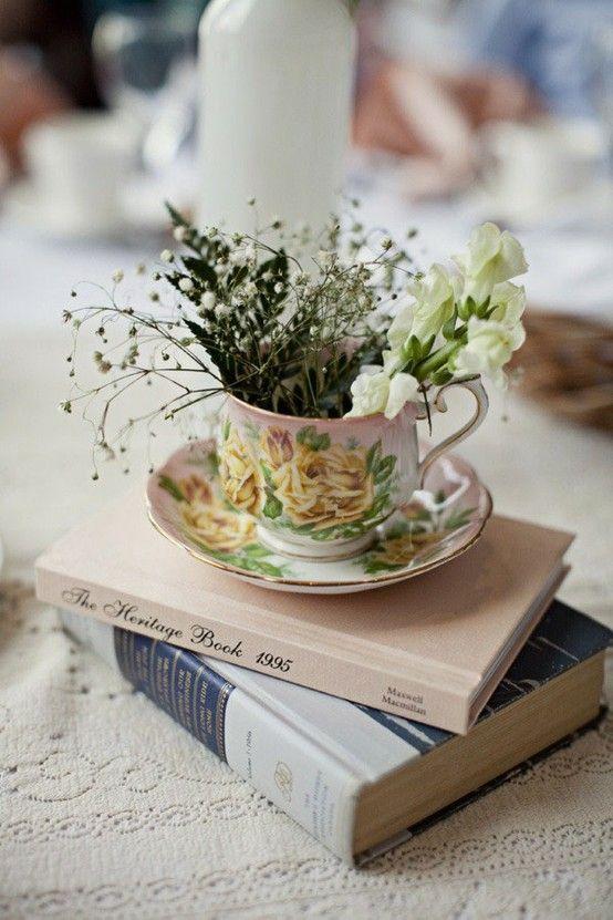 Teacup And Books Bridal Shower Decorations Diy Bridal Shower Diy Garden Centerpiece