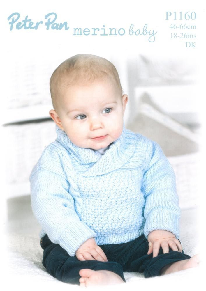 Knitted sweater with shawl collar and hat in Peter Pan Merino Baby ...