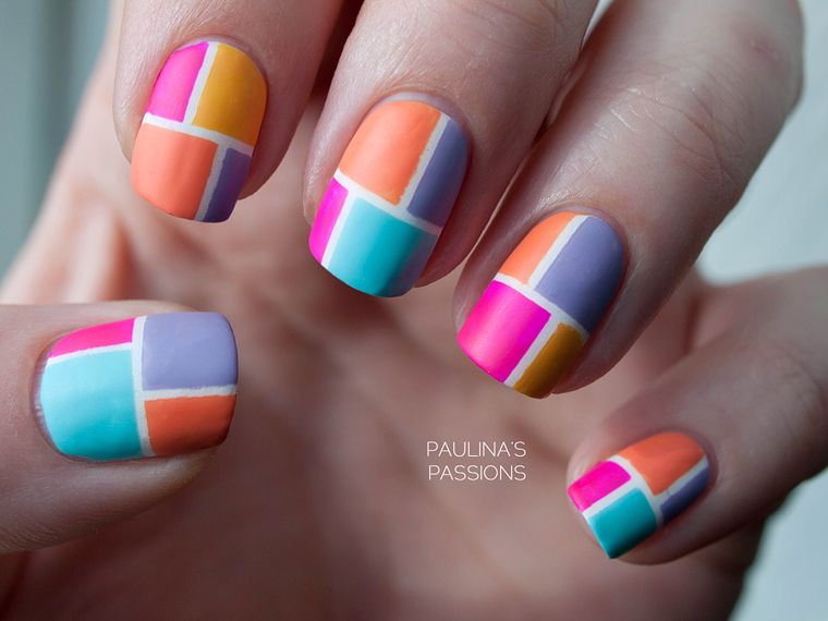 Color Block Nails, with more colors this time! | Unhas criativas ...