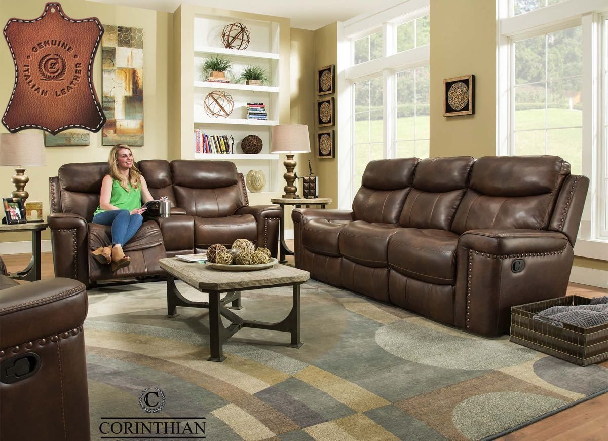 Corinthian Driftwood 100 Italian Leather Match Reclining Sofa And Loveseat Nc Gallery Furniture In 2020 Living Room Leather Living Room Suite Living Room Sets