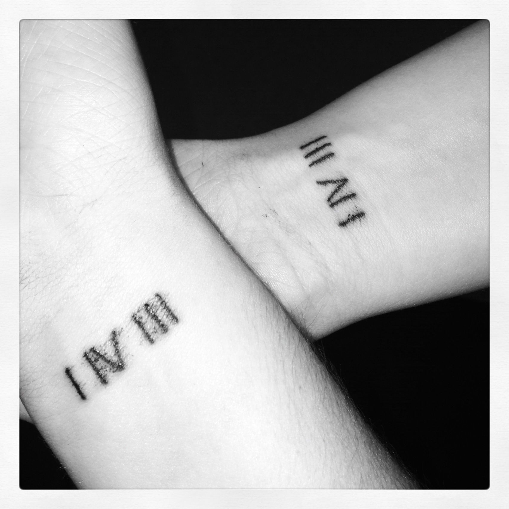 Instead Of Roman Numerals Have Them Numeric Hopefully That S The Word And Instead Of A Birthday Have The Day O Sister Tattoos Couple Tattoos Trendy Tattoos