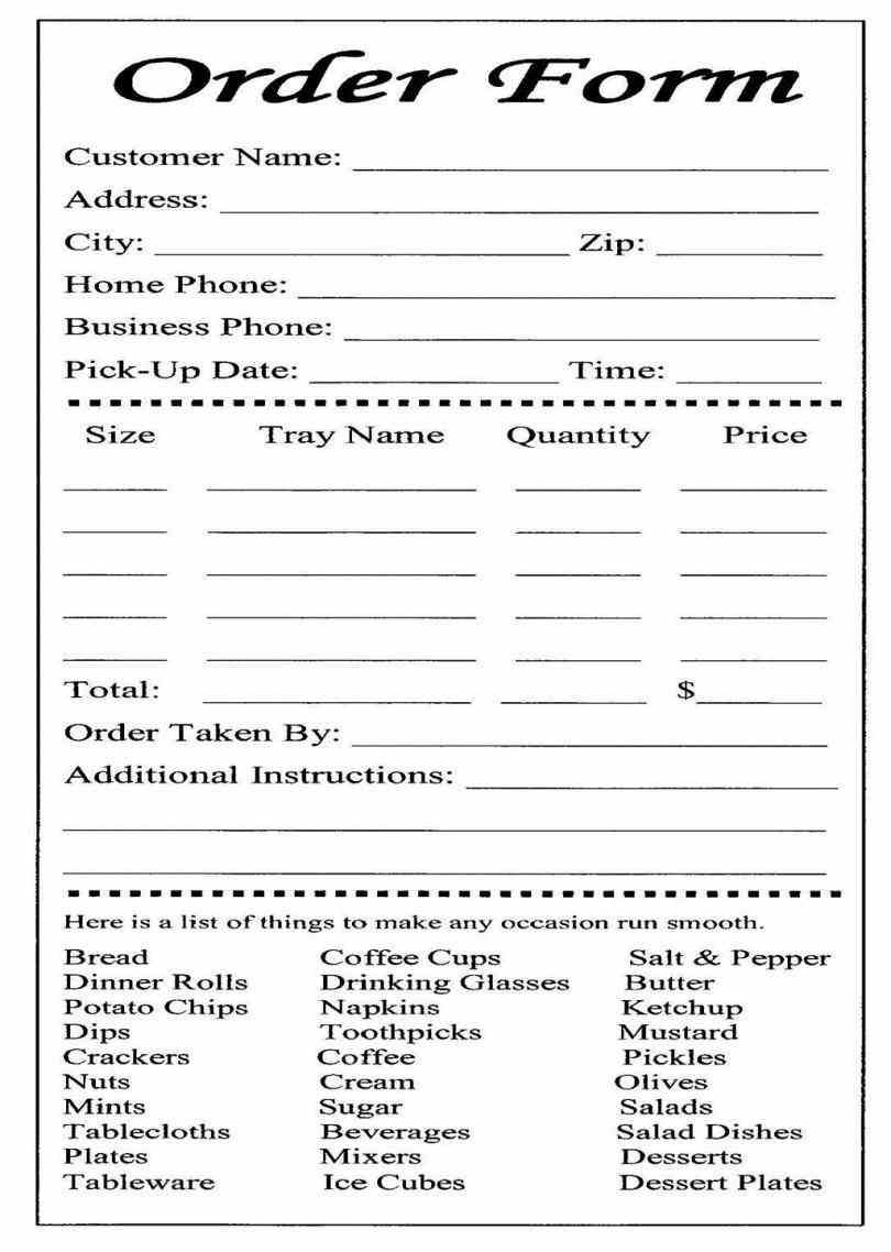 Catering or carryout form used for online ordering and for Food pre order form template