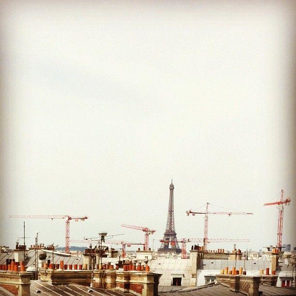 The Lady and the bodyguards #paris #underconstruction #eiffeltower - @parisvsnyc- #webstagram
