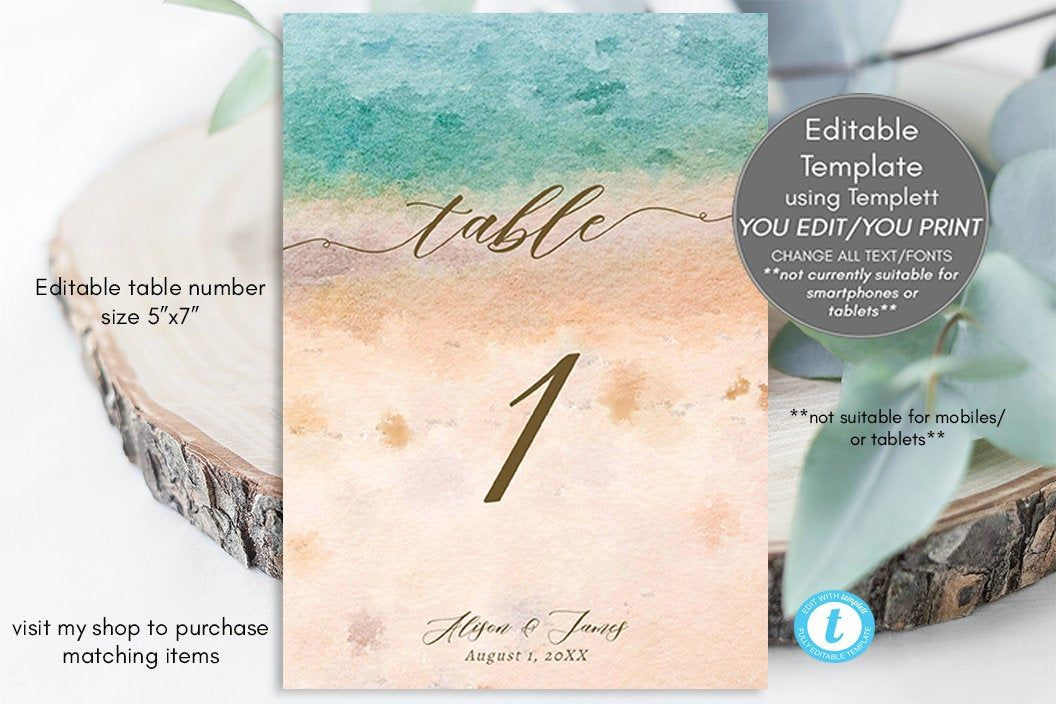 Tropical Wedding Table Numbers Beach Table Numbers Template
