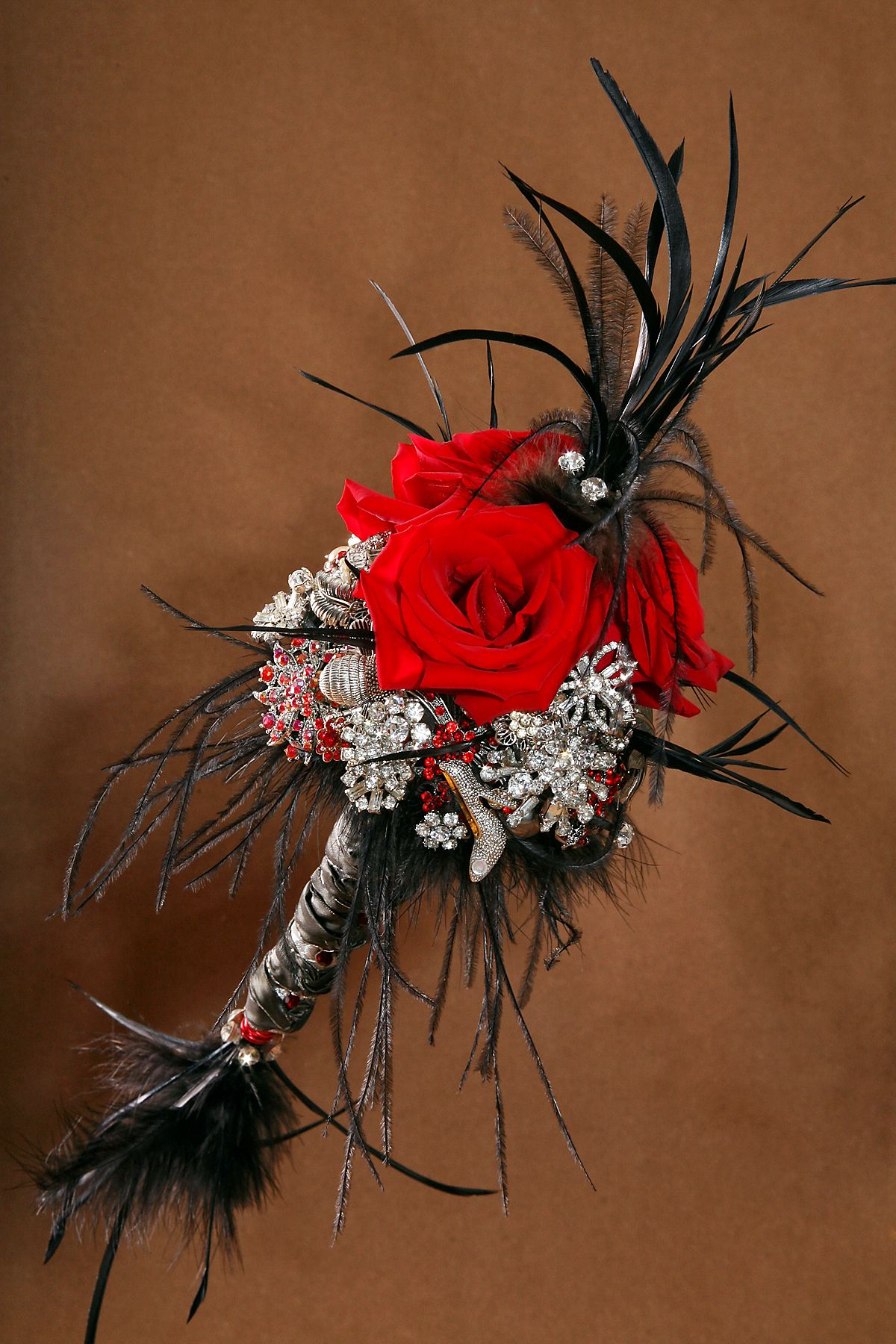 Brooch bouquet with fresh red roses designed as a sceptre for a brooch bouquet with fresh red roses designed as a sceptre for a vintage steam punk izmirmasajfo