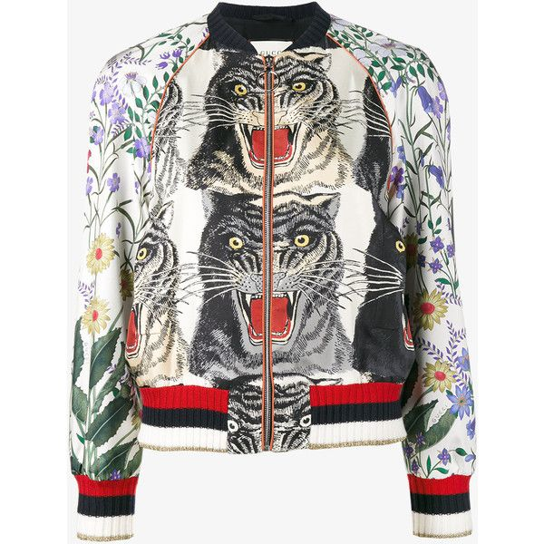 Gucci Patchwork Print Bomber Jacket ( 2,145) ❤ liked on Polyvore featuring  outerwear, jackets, bomber jacket, silk jacket, flight jacket, multi-color  ... fddff7a7e6c
