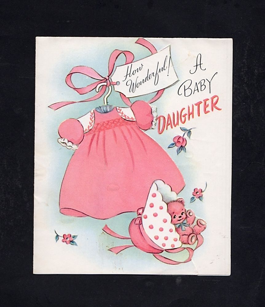 New baby girl greeting card hc 35 vintage baby showers birth new baby girl greeting card hc kristyandbryce Image collections