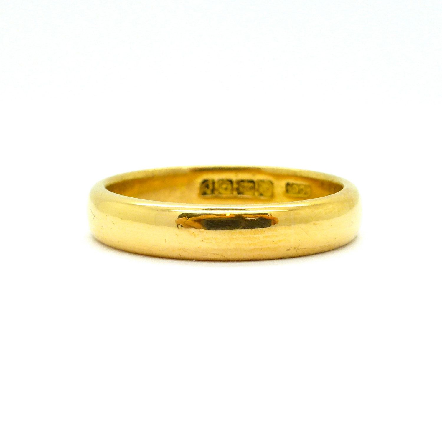 Antique Art Deco wedding band 22ct 22K gold plain bevelled ring