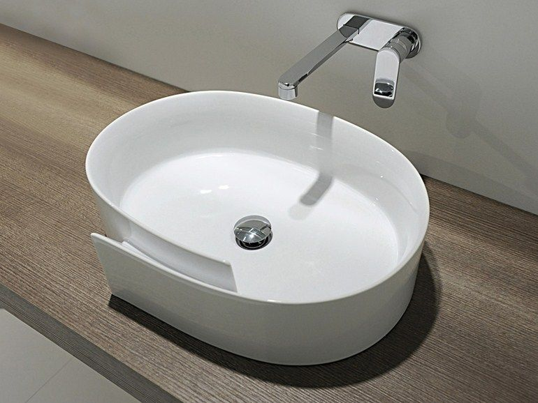 Countertop oval ceramic washbasin Roll Line by CERAMICA FLAMINIA ...   {Doppelwaschbecken oval 44}