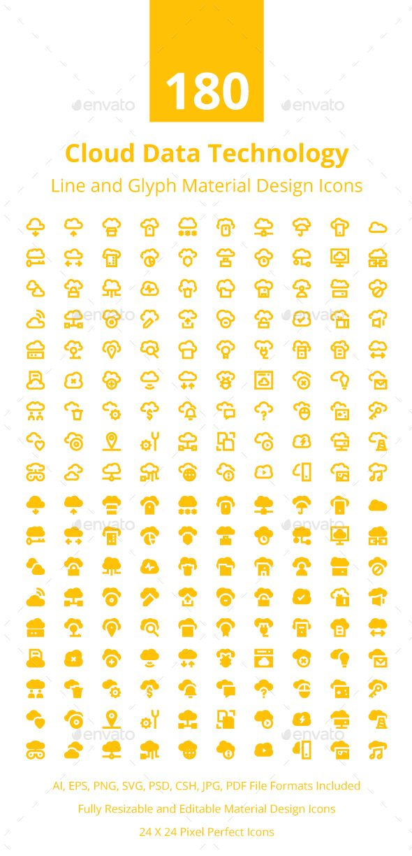 180 Cloud Data Technology Icons Data Icon Technology Icon