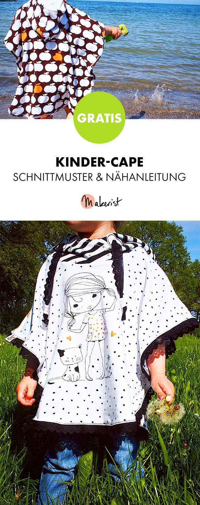 Gratis Anleitung: Cape für Kinder nähen - Schnittmuster und ...