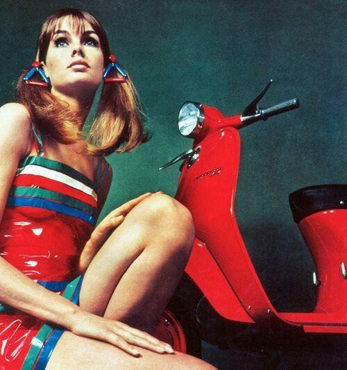 Jean Shrimpton In 1960s Cherry Red Lambretta Scooter