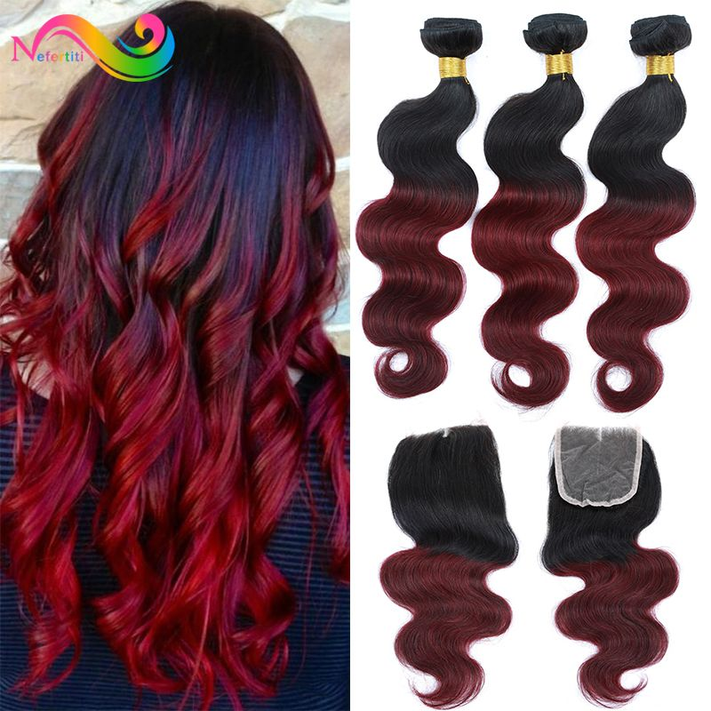 Find More Human Hair Weft With Closure Information About Burgundy