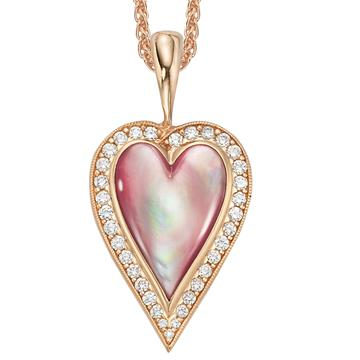 Kabana Pink Mother of Pearl Heart Rose Gold Diamond Pendant