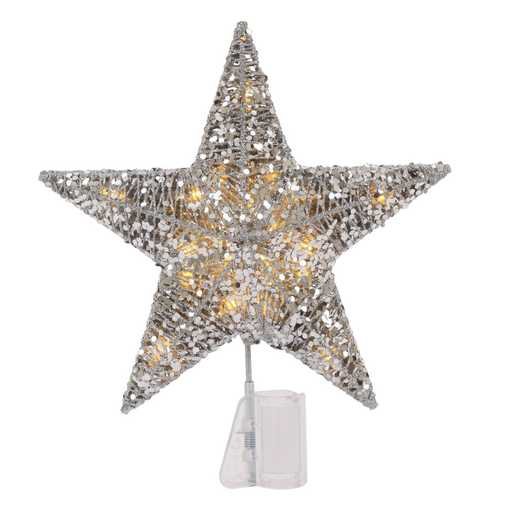 Sequin Wrapped Star LED Christmas Tree Topper Silver