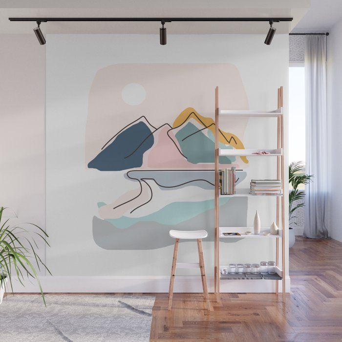 Minimalistic Landscape Wall Mural by Nadja - 8' X